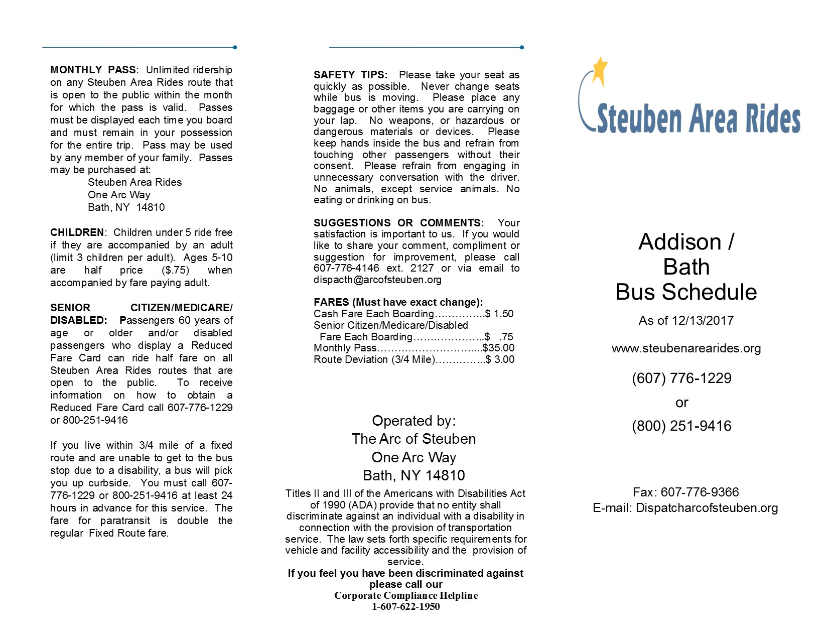 Steuben Area Rides, Public Transportation - Bath, NY | The